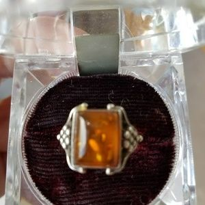 Jewelry - Antique Sterling silver Amber ring